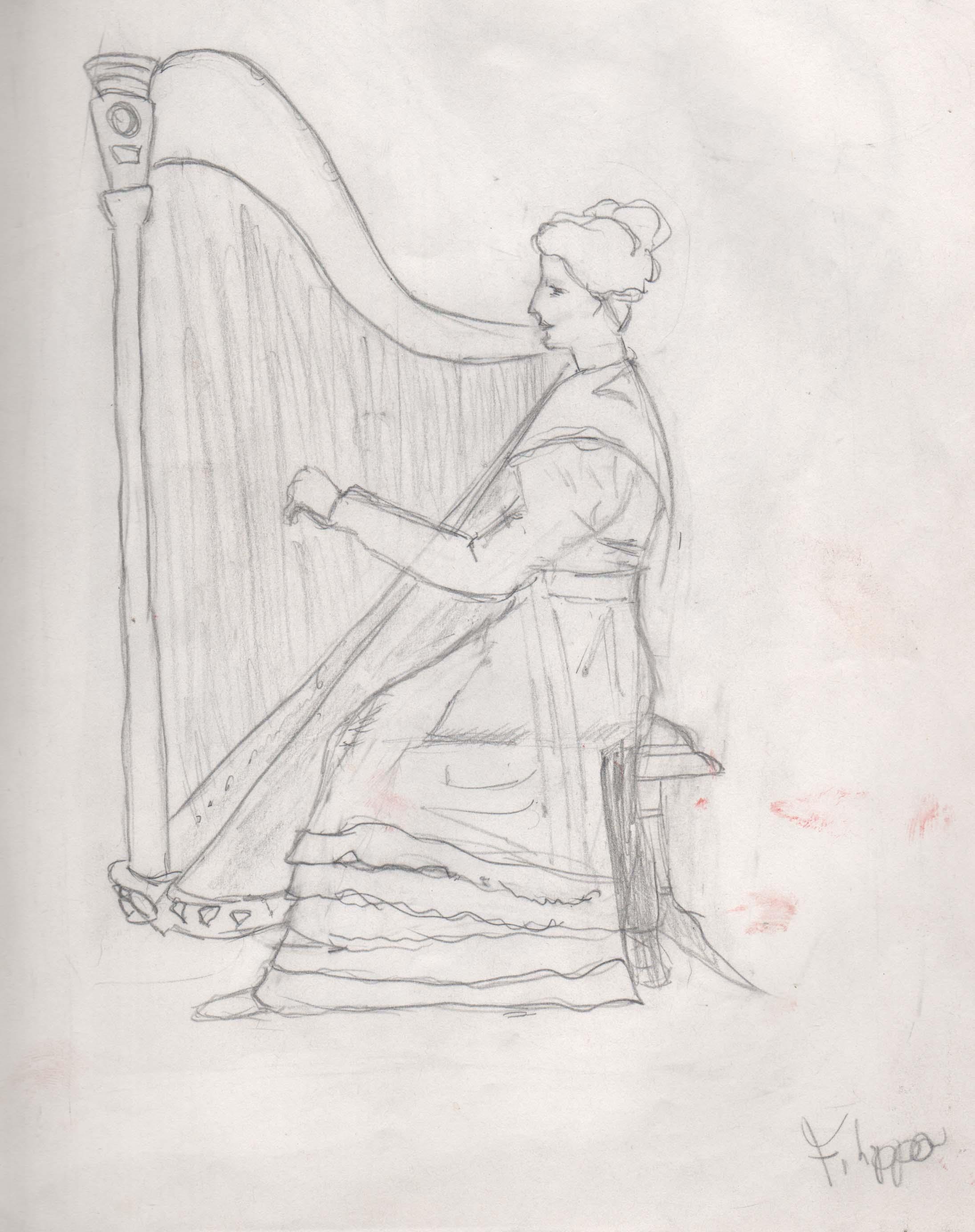 Woman Playing Arp